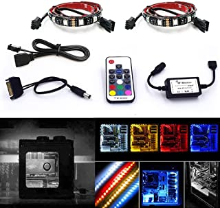 Airgoo Computer LED Strip Kit, 2pcs 20inch PC RGB LED Strip Light, Vibrant LED Computer Lights Using Multi Function RF Remote for Desktop PC Computer Tower, Back Adhesive and Sata Power Cable Included