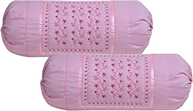 Rj Products Embroidered Cotton Bolsters Cover Maroon - Pack of 2 (Pink)