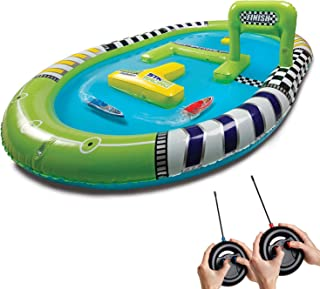 SHARPER IMAGE RC Speedboat Racers for Kids with Inflatable Pool, Race Mini Remote Control Boats with Real Water Racetrack, for Summer and Backyard/Lawn Outdoor or Indoor Play