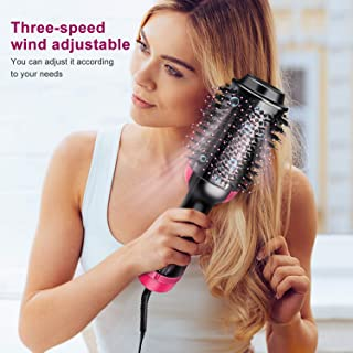 COIF Stylish Round Hair Straightening Brush with Temperature Control System (Black-Pink)
