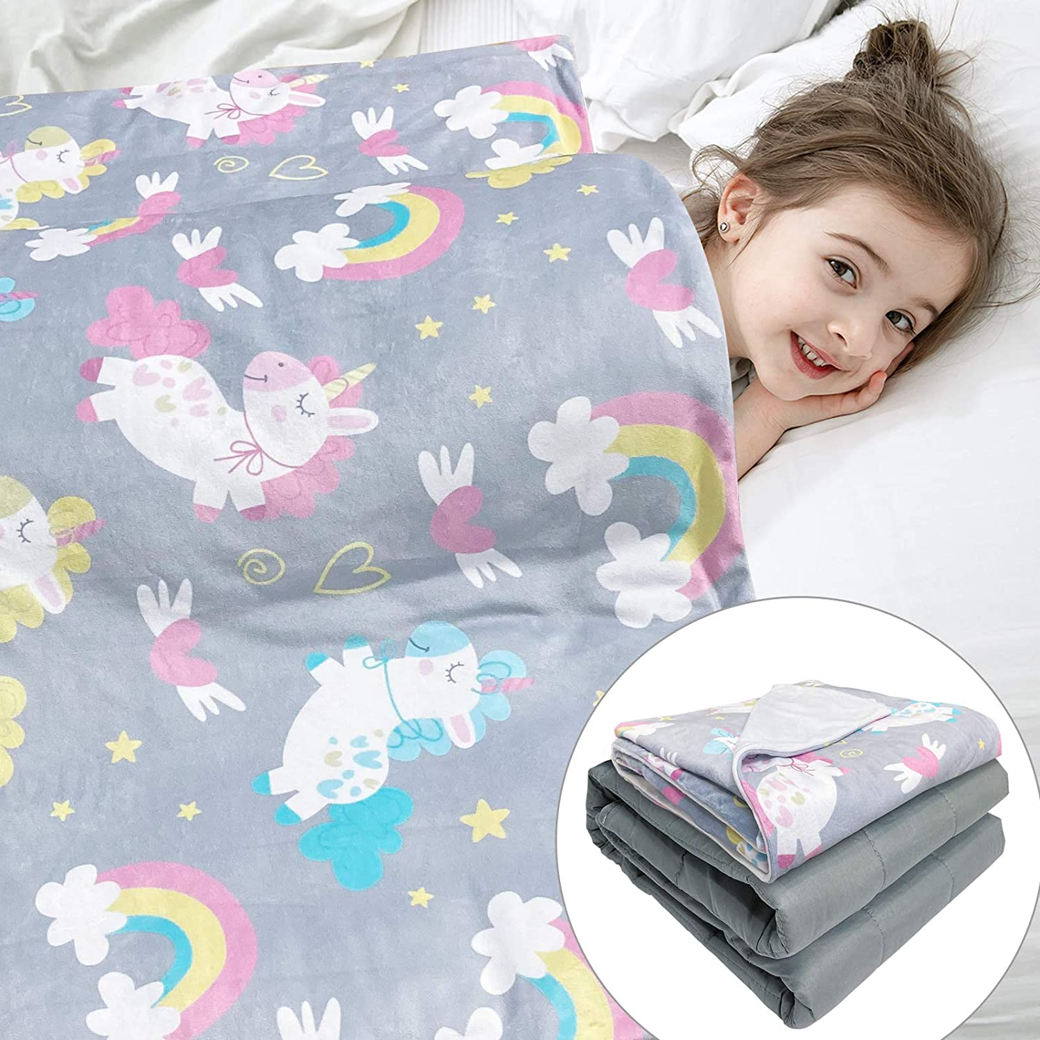 Solfres Kids Weighted Blanket 7lbs 41 Dedication Superlatite Cartoo Gray 60 inches x