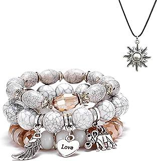 SMALLLOVE Bohemian Bracelets Set for Women Girls Multilayer Stretch Stackable Wing Tassel Love Charm Crystal Beaded Beach ...