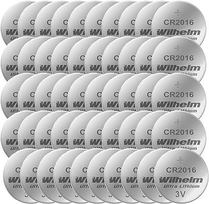 50 X Knopfzelle Cr2016 Wilhelm Batterie Lithium 3v Cr Elektronik