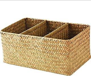 Siunwdiy Seagrass Moyen Panier de Rangement, boîte de Rangement Support sans Couvercle Bureau rectangulaire Journal Magazi...