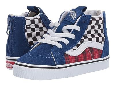 Vans Kids Sk8-Hi Zip (Infant/Toddler) ((Plaid Checkerboard) True Blue/Racing Red) Boys Shoes