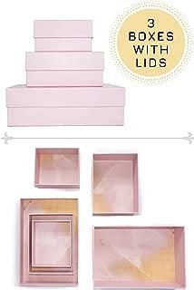 Happibox Hikidashi Box Set of 3 | Dresser Drawer Organizer for Clothes | Decorative Storage Box with Lid | Clothing Organizer | Desk Drawer Organizer| Organizing Bin | Memory Box | Cardboard (Pink)