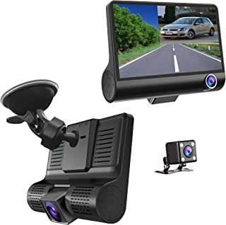 Master Tailgaters 3 Camera Windshield Mount DVR Dash Cam - Records Forward, Cabin & Backup Camera with 4 Inch LCD IPS Screen
