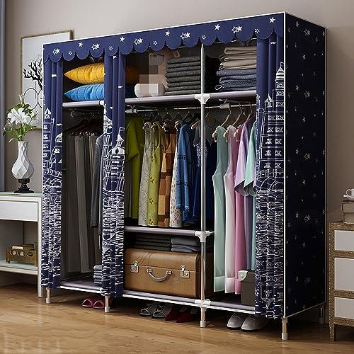 Kleiderschrank einfaches Tuch Stahlrahmen Stahlrohr Dicker Tuch einfaches Schlafzimmer Erwachsenen Montage Falten (Farbe   1)