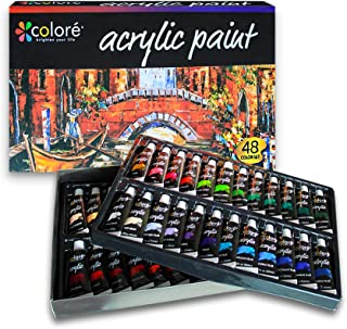 Acrylic Paint Set 48 Color Water Based Non Toxic for Artists Hobby Kids Adults Crafts Art School Supplies Professional Pai...