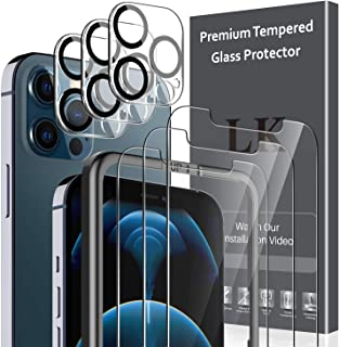 6 Pack LK 3Pcs Screen Protector Compatible with iPhone 12 Pro Max 6.7 inch & 3Pcs Camera Lens Protector Anti-Scratch Easy-...