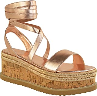 Fashion Thirsty Womens Flatform Cork Espadrille Wedge Sandals Ankle Lace Up Shoes