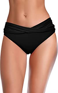 Women's Cheeky Swimsuit Twist Front Bikini Bottoms Ruched Swim Bottoms