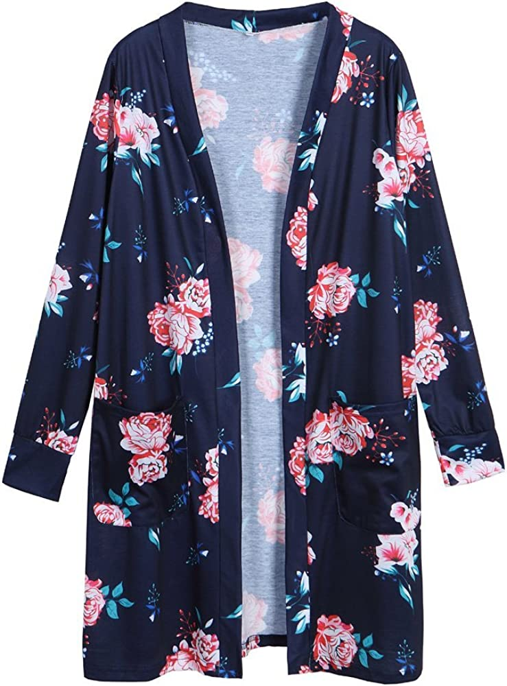 Landove Cardigan Asymetrique Femme Boheme Veste Ray/ée en Tricot Imprim/é Manteau Automne /à Manches 3//4 Outwear Gilet Ouvert Fluide Jaquette Kimono Top