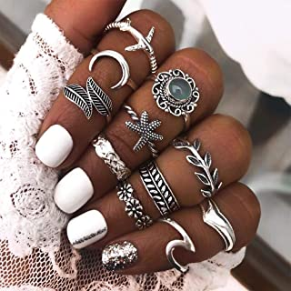 Aimimier Bohemian Stacking Knuckle Rings Set Moon Starfish Gemstone Leaf Flower Joint Midi Finger Rings 11 Pcs for Women T...