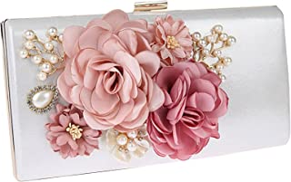 Floral Evening Bags and Clutches for Women Pearls Beaded Handbags Purses