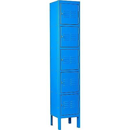 Metal Storage Locker with 5 Tier,Steel Employees Locker Cabinet for Office,5 Door Locker for School, Gym, Home and Team Locker Rooms,Storage Locker for Garage Storage (Blue)