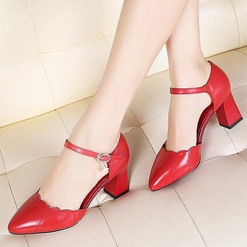 YTTY Chaussures Creuses Simples Chaussures Féminines avec Talons Hauts épais Chaussures Pointues à La Mode Rouge 38
