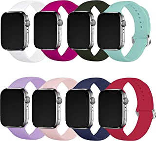 8 Pack Watch Band for 38mm 40mm 42mm 44mm Watch,Soft Sport Bands Replacement for Watch Series 6/5/4/3/2/1 Women Men