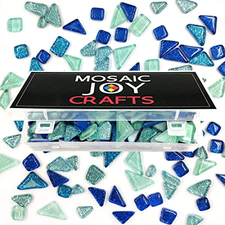 Mixed Color Mosaic Tiles Shine Crystal Mosaic Glass Pieces Bulk Assorted Square and Triangle Glitter Crystal Mosaic Tiles for Home Decoration or DIY Crafts 200g