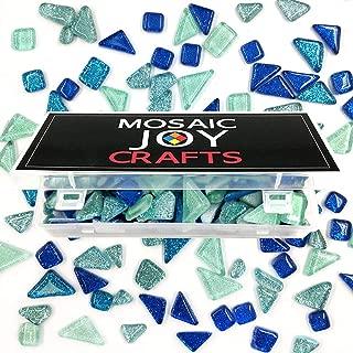 Mosaic Tiles for Crafts Blue Assorted Color Glass Glitter Mosaic Supplies Pieces Bulk Assorted Shape Triangle Diamond by Mosaic Joy (Blue, 11oz)