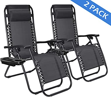 Zero Gravity Chair Lounge Patio Chairs Set of 2 Adjustable Reclining Chairs with Pillow and Utility Cup Holder Portable Folding Lounge Recliner for Outdoor Deck Patio Lawn Pool Side Yard Beach Camping