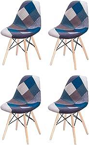 Naturelifestore Lot de 4 Chaise Latérale Rembourrée en Tissu Patchwork Moderne avec Base en Bois à Crampon (Blue)