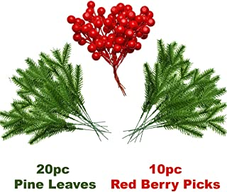 QBOSO Artificial Pine Leaves & Red Berry Picks Set for Christmas Decor Plastic Evergreen Pine Leaves & Red Berry for Christmas Flower Arrangements (20pc Pine Leaves 10 pc Red Berry Picks )