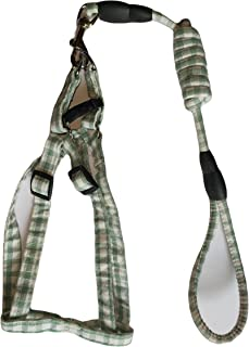 RvPaws 15 MM Puppy Cotton Harness & Leash Set for Small & Medium Dog Breeds((Green-White Color)