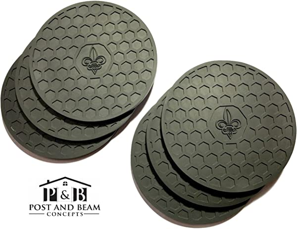Post And Beam Drink Coasters Silicone Set Of 6 Black With Fleur De Lis Design Strong Grip Deep Tray Large 4 3 Inch Size