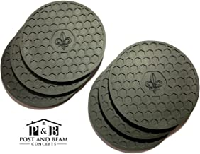 Post and Beam Drink Coasters Silicone Set of 6 (Black) with Fleur de Lis Design – Strong Grip, Deep Tray, Large 4.3 inch Size