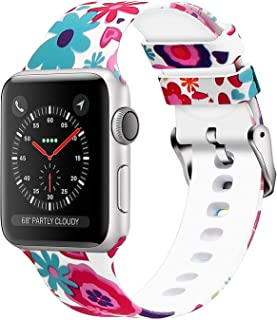 Compatible with Apple Watch Band,Print Rubber Sports Wristband for iWatch Series 5 4 3 2 1(Flower 15, 38mm/40mm)