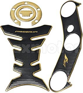 ZAIXU Triple Tree Front End Upper Top Clamp Pad Decal Stickers Gas Cap Tank Pad Protector for Yamaha YZF-R1 2004-2008 (Gold, Top Gas Tank Decal Set)