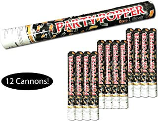 Confetti Cannon Confetti Popper, Metallic Mylar Confetti, Color: Gold & Silver, Size: 16 inch long, Case of 12 units, Safe Compressed Air Disposable Confetti Launcher launches Confetti up to 30 Feet!