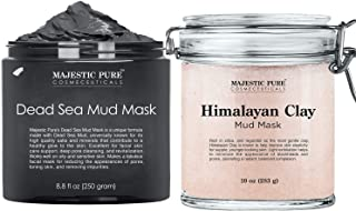 Majestic Pure Dead Sea Mud Mask and Himalayan Clay Mask Bundle – Natural Skin and Face Care for Women and Men