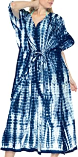 LA LEELA Mujeres caft/án Ray/ón t/única 3D HD Impreso Kimono Libre tama/ño Largo Abaya Vestido Jalabiyas de Fiesta para Loungewear Ropa de Dormir Playa Todos los d/ías Cubrir Vestidos Q