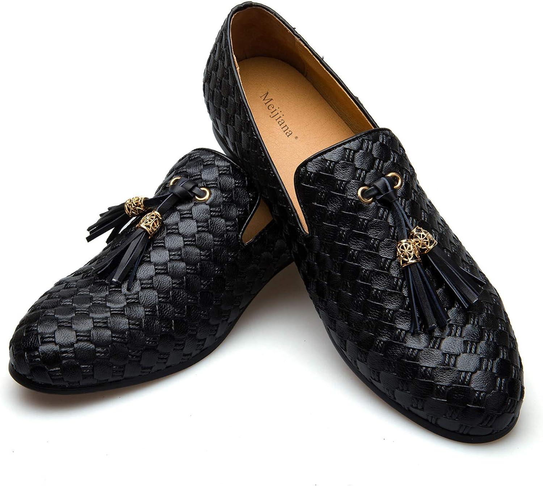 Meijiana Men Faux Leather Noble Loafer Shoes Slip-on Loafer Smoking Slipper Tassel Loafer