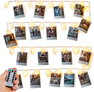 Photo Clip String Lights (16.4ft), 40 LED & Remote - Battery Powered, Warm White Fairy Lights - Gift for VSCO Teen Girl - Cute Dorm Room Decor - Hanging Polaroid Pictures as Bedroom Wall Decoration