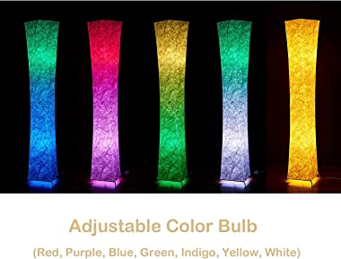 """65"""" Soft Light LED Floor Lamp,LEONC RGB Color Changing Tyvek Fabric Shade Modern Floor Lamp with Fabric Shade & 2 Sma"""