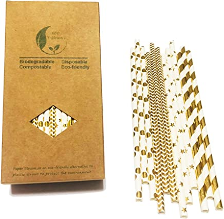 strisce oro Shinning timbro in lamina d oro golden Dots Party decorativo misti Cololful cannucce Wave Gold Stars