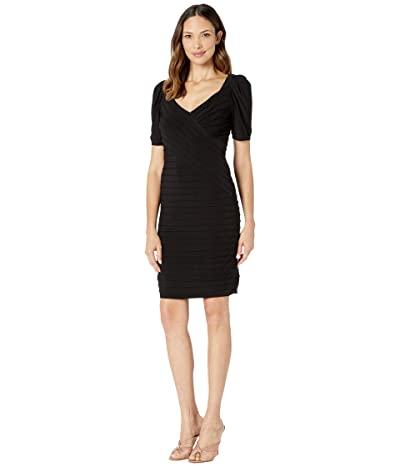 Adrianna Papell Pintucked Jersey Dress with Puffed Sleeve (Black) Women