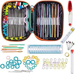 Niviy 100PCS Set de Crochets en Aluminium Accessoires à Tricoter 22PCS Assortiment Kit de Crochets Outils Trousse Orange e...