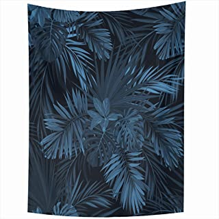 Ahawoso Tapestry 60x80 Inch Blue Floral Dark Tropical Jungle Plants Abstract Leaf Navy Forest Beach Pattern Sabal Palm Exotic Denim Phoenix Tapestries Wall Hanging Home Decor Living Room Bedroom Dorm