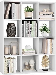 HOMECHO Bibliothèque Blanche en Bois, Meuble de Rangement avec 12 Casiers Ouverts, l'Étagère Bibliothèque pour Livres et D...