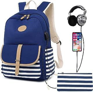 Abshoo Causal Travel Canvas Rucksack Backpacks for Girls School Bookbags, USB Navy (Blue) - ZLSB034UB2