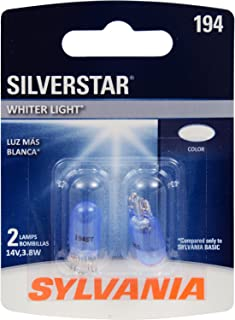 SYLVANIA - 194 SilverStar Mini Bulb - Brighter and Whiter Light, Ideal for Interior Lighting, Center High Mount Stop Light (CHMSL), and more (Contains 2 Bulbs)