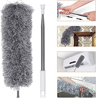 Antonki Extendable Microfiber with Extra Long 282cm Telescopic Pole Feather Duster with Bendable Head Hand Duster for Clea...