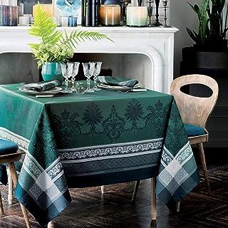 """Garnier Thiebaut Fontainebleau Vert Profond Tablecloth, 120"""" x 69, Green"""