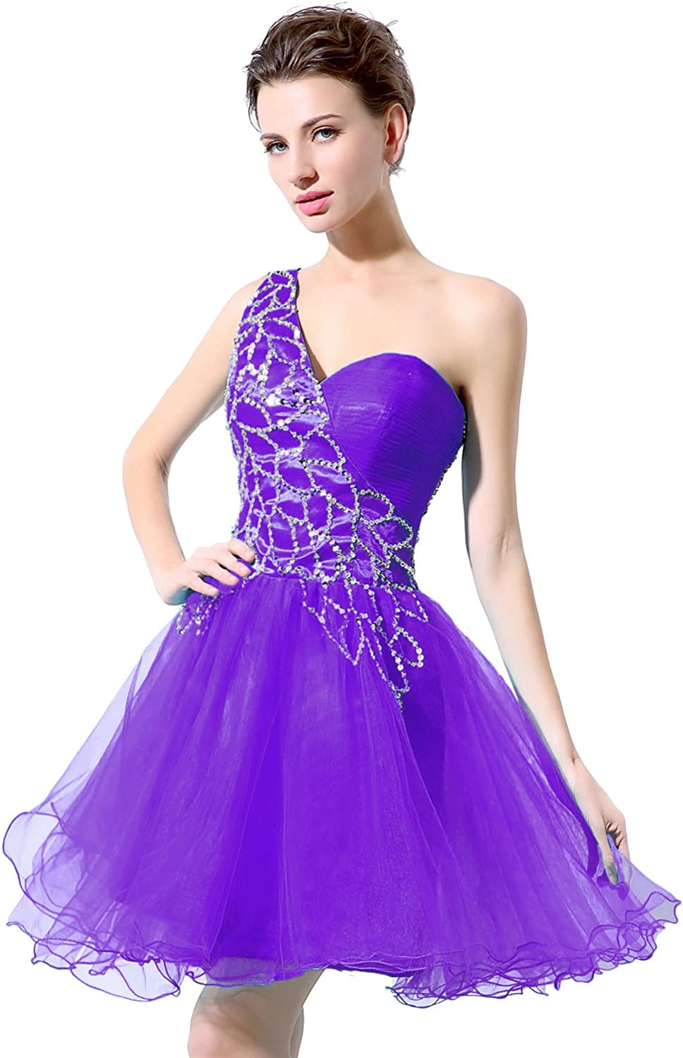 Sarahbridal Juniors One Shoulder Short Prom Dresses Tulle Sequins Homecoming Cocktial Party Gowns
