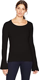 Lark & Ro Amazon Brand Women's Sweaters Crewneck Cashmere Sweater with Flute Sleeves