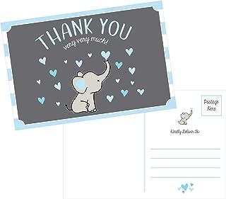 50 4x6 Elephant Boy Baby Shower Thank You Postcards Bulk, Beautiful Modern Cute Boho Blue Blank Thanks Note Card Stationery Appreciation Set